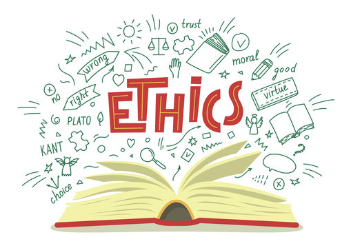 Ethics. Open book with moral philosophy hand drawn doodles and lettering on white background. Education vector illustration.