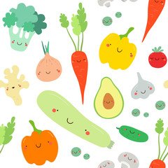 Seamless pattern with vegetables. Vector texture. Flat icons: pepper, avocado, carrot, tomato, ginger, peas, squash, garlic, broccoli. Vegetarian healthy food. Vegan, farm, organic, natural background