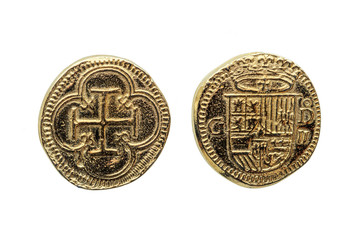 Gold Escudos Coin of Philip II (Felipe II) of Spain Crowned Shield Obverse Cross In Quatrefoil Reverse cut out and isolated on a white background