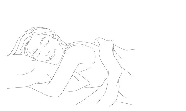 Vector hand drawn graphic illustration. Sexy pretty posing person, cartoon, sleep on its side and dream line art