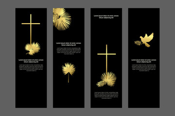 Religious bookmarks set, christian templates kit in black and gold, universal design