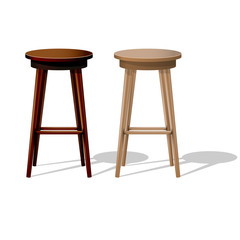 Bar wooden stool isolated on white - stand up show stool