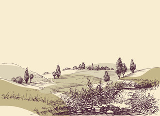 Hills landscape hand drawing. Travel or tourism in nature background