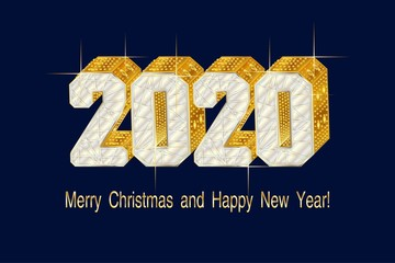 2020 Gold figures 3d font type, encrusted in jewels. Background with inscription Happy New Year and Merry Christmas. Holiday background, banner, poster. Fototapete