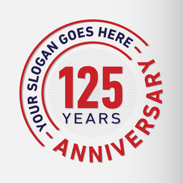 125 years anniversary logo template. One hundred and twenty-five years celebrating logotype. Vector and illustration.
