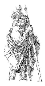 St. Christopher, 7th century,  vintage engraving.