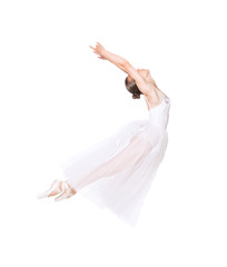 Slender girl in a white corset tutu dancing ballet. Studio shooting on white background, isolated images.