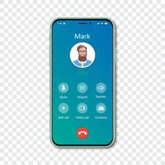 Smartphone call app interface template on a transparent background. Incoming call concept. Vector illustration