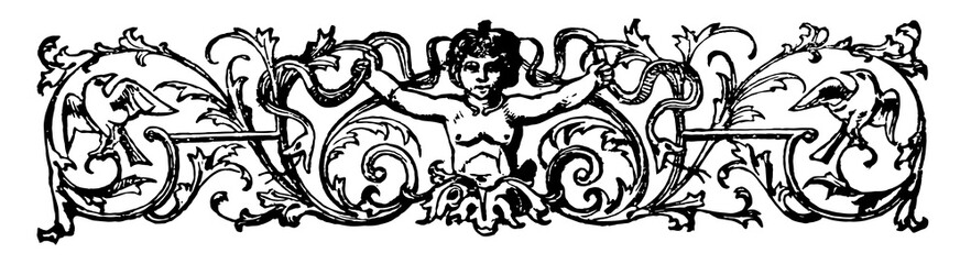 Banner are decorated with a cherub and birds in this picture, vintage engraving.