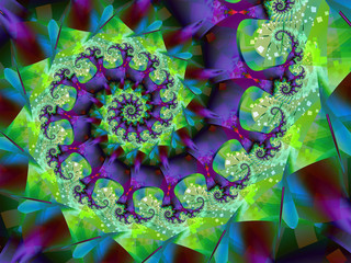 Spinning purple and green fractal spiral abstract pattern