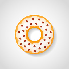 Sweet donut with white glaze and chocolate drops isolated on background. Vector illustration.