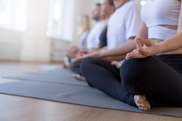 Group of sporty people practicing yoga lesson in class. Cropped picture