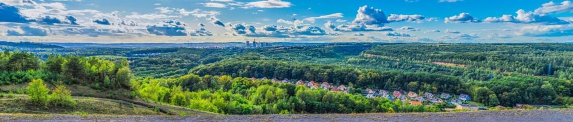France Paysage Lorraine vue panoramique de la Site des carrières de Freyming-Merlebach vers Carling et Creutzwald