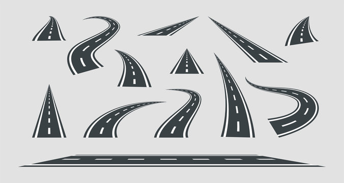 Set street and road vector template isolated on background.