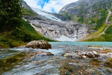 Boyabreen glacier a side branch of the Jostedalsbreen. Melting Norwegian glacier.