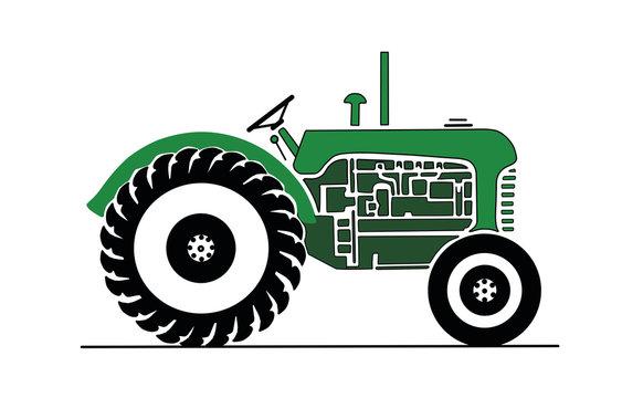 Vintage green farm tractor vector drawing