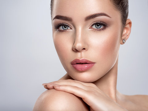 Adult woman with beautiful face