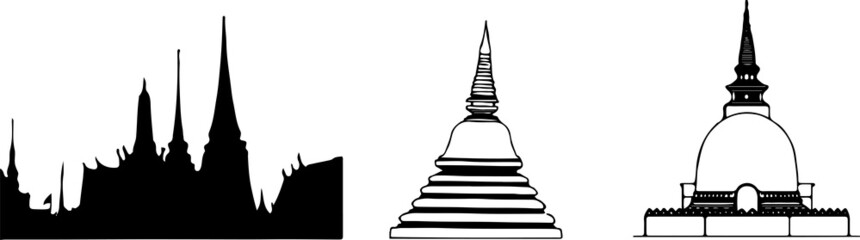 Thai temple vector illustration isolated on background