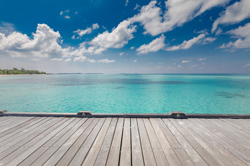 In de dag Bleke violet Beautiful beach with water bungalows and old wooden pier at Maldives