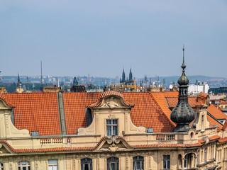 Prague historical center with the castle,Hradcany,Charles bridge and Vltava river, Prague, Czech Republic