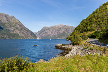 Cruisehip and sailing ship, Eldfjord, Hordaland in Norway