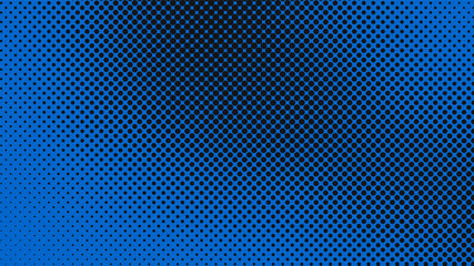 Navy blue and black pop art background with dots design, abstract vector illustration in retro comics style