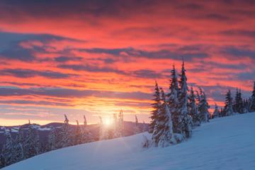 Foto op Aluminium Koraal sunset in the mountains