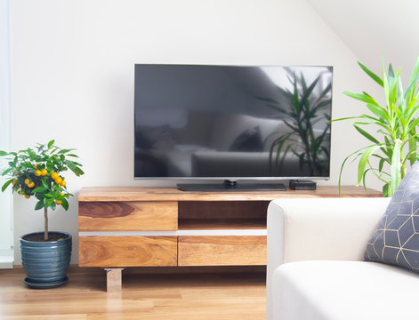 TV cabinet in living room interior