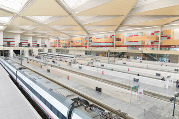 ZARAGOZA, SPAIN-31 MAY: RENFE - AVE High speed train at Zaragoza Delicias station on 31 May, 2013.