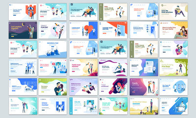 Big Collection of Modern design website template, Set of web page design templates for business, management app, consulting, social media marketing. Modern vector illustration concepts