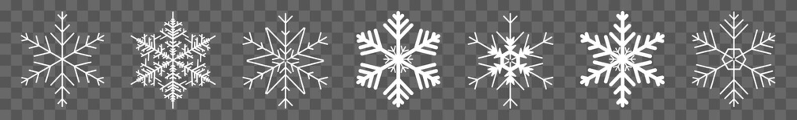 Snowflake Icon White | Snowflakes | Ice Crystal Winter Symbol | Christmas Logo | Xmas Sign | Isolated Transparent | Variations