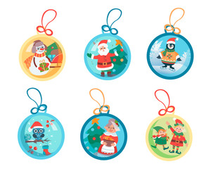 Christmas balls with Christmas plots and Christmas characters Santa Claus, snowman, penguin, owl, happy people and decorated Christmas tree.
