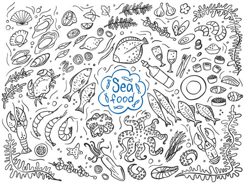 Set of seafood isolated on white. Vector illustration. Perfect for menu or food package design.