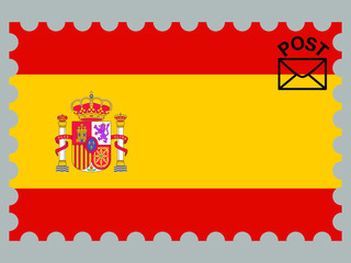 Spain national flag with inside postage stamp isolated on background. original colors and proportion. Vector illustration, from countries flag set