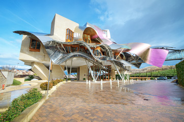 Winery of Marques de Riscal on January 10, 2014 in Elciego, Basque Country, Spain.