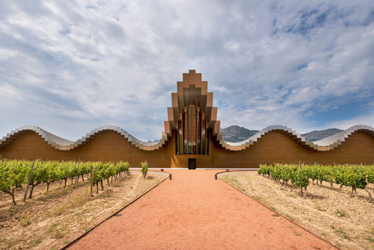 La Guardia, Spain - May 29, 2017: Modern winery of Ysios on May 29, 2017 in Laguardia, Basque Country, Spain This modern winery was designed by Santiago Calatrava.