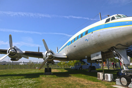 MUNICH, GERMANY - MAY 19, 2019 - a historical aircraft Lockheed L-1049 G super Constellation of the year 1955 on display and open to the visitors at the Munich Airport visitor park