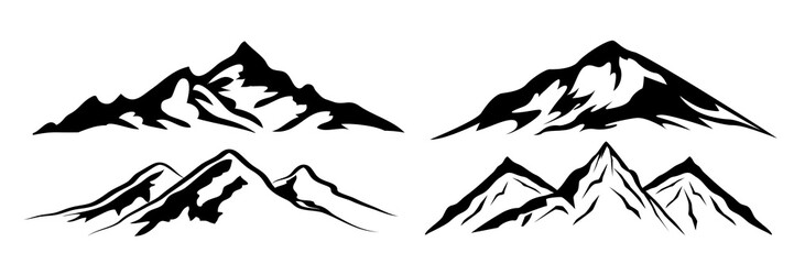 Set mountain ridge with many peaks - stock vector