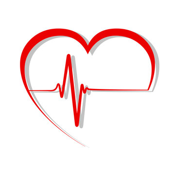 Red heart with pulse line, cardiogram sign - vector