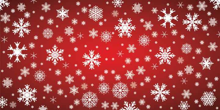 Red snowflake background with transparent snowflakes - vector