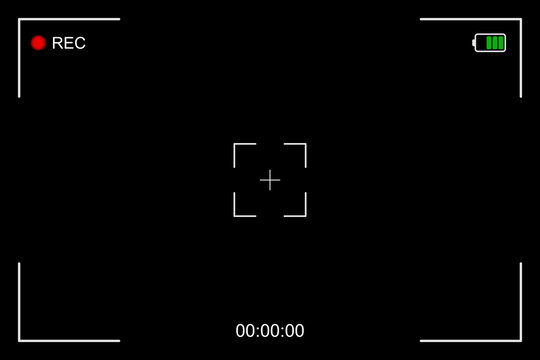 Camera frame viewfinder screen of video recorder, recording video screen, digital display interface. Camera viewfinder, rec icon with information and timing, video screen on a black background