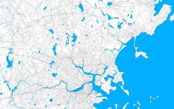 Rich detailed vector map of Malden, Massachusetts, USA