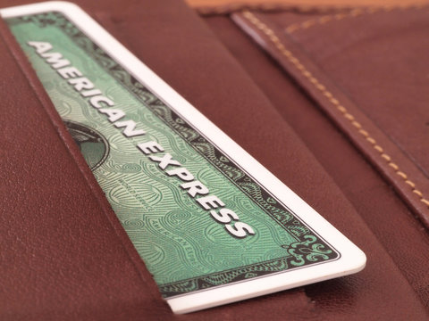 Green American express card in wallet on August 9, 2017 in Zagreb, Croatia