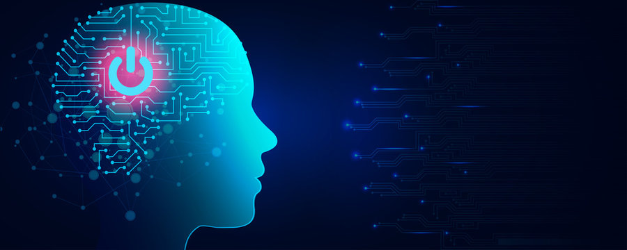 Artificial intelligence concept. Virtual technology web background. Machine learning and cyber mind domination concept in form of human face with button. AI in humanoid head with neural network thinks