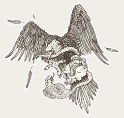 Eagle vs snake in skull in vector. Hand drawn illustration.