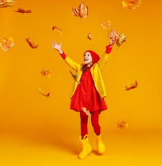 happy emotional cheerful child girl jumping and laughing  with autumn leaves   on colored yellow background