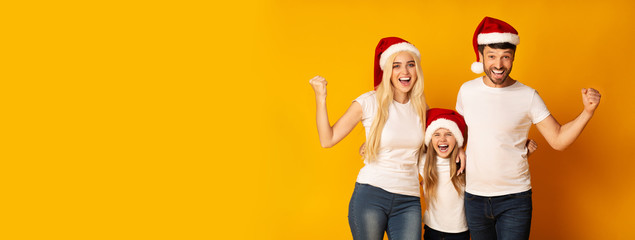 Parents And Daughter In Santa Hats Shaking Fists In Studio, Panorama
