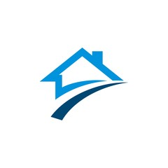 Home with Swoosh Real Estate Logo Template Illustration Design. Vector EPS 10.