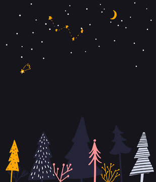 Winter wonderland illustration. Night forest, place for greeting text and seasonal event invitation.