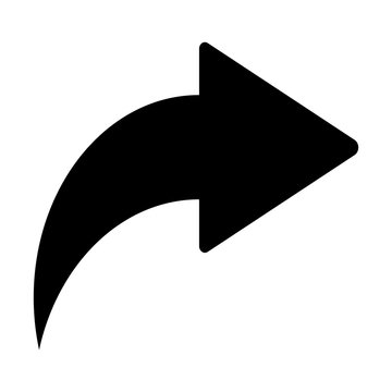 Simple black share arrow icon isolated on white background